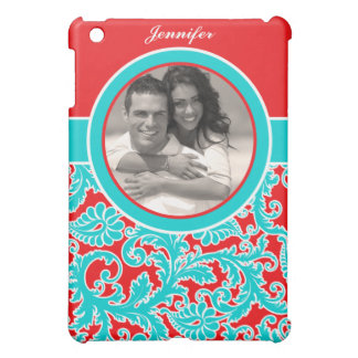 Blue Red White Damask with Photo iPad Mini Cover