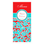 Blue Red White Floral Damask Menu Card Custom Rack Cards