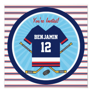 Blue Red White Ice Hockey Jersey Birthday Party 5.25x5.25 Square Paper Invitation Card