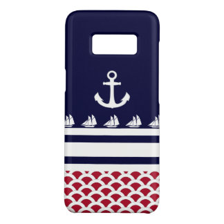 Blue | Red | White Nautical Stripes and Anchor Case-Mate Samsung Galaxy S8 Case