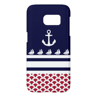 Blue | Red | White Nautical Stripes and Anchor Samsung Galaxy S7 Case