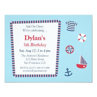 Blue Red White Nautical Theme Birthday Party Card