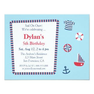 Blue Red White Nautical Theme Birthday Party Card