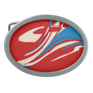 Blue Red White Retro Painting Abstract Art Oval Belt Buckle