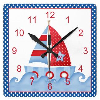 Blue Red White Sailboat Clock