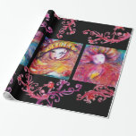 BLUE,RED,YELLOW CARNIVAL MASKS WITH FLORAL SWIRLS WRAPPING PAPER