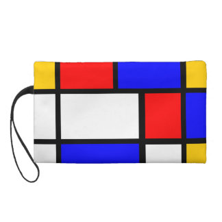 Blue red yellow Mondrian Wristlet Purse