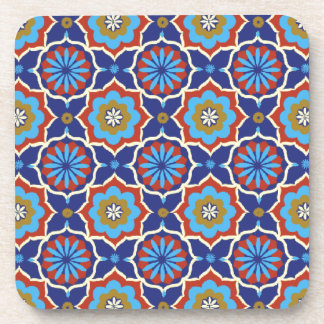 Blue red yellow oriental pattern beverage coaster
