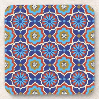 Blue red yellow oriental pattern beverage coaster