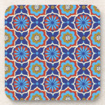 Blue red yellow oriental pattern coaster