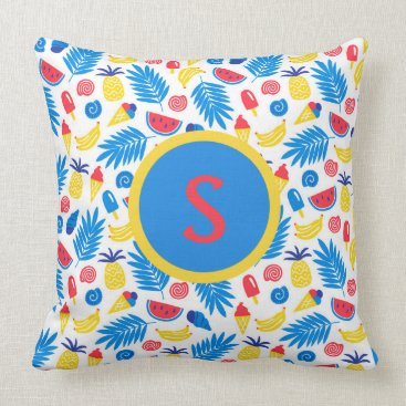 Beach Themed Blue Red Yellow Pineapple Watermelon Monogram Throw Pillow