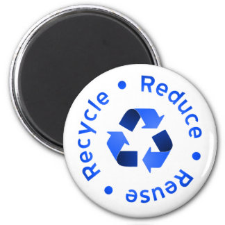 Blue Reduce Reuse Recycle Magnet