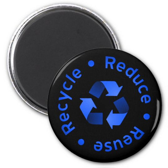 Blue Reduce, Reuse, Recycle Magnet