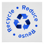 Blue Reduce Reuse Recycle Poster