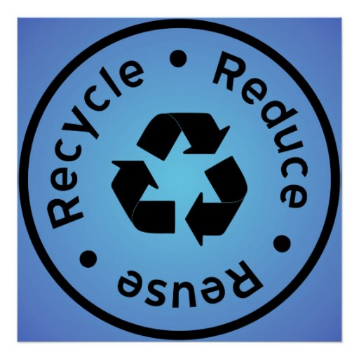 Blue Reduce, Reuse, Recycle Poster