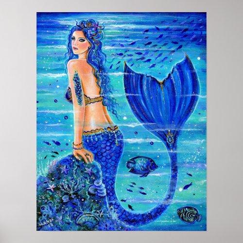 Blue Reef Mermaid poster by Renee Lavoie