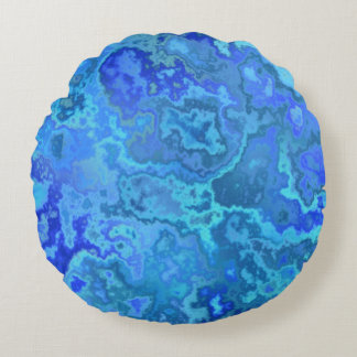 blue reef round pillow