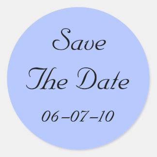 Blue Regency Save The Date Wedding Stickers