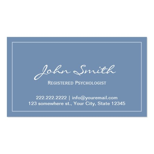 Blue Registered Psychologist Appointment Card Business Card Template
