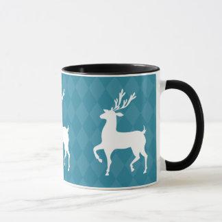 Blue Reindeer Christmas Mug