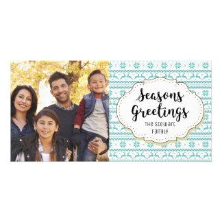 Blue Reindeer Knit Seasons Greetings Photo Card