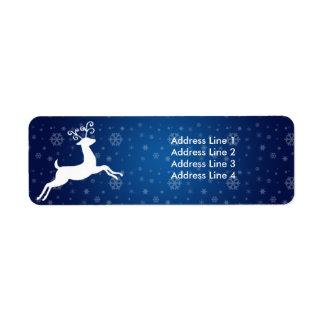 Blue Reindeer Return of Address Label
