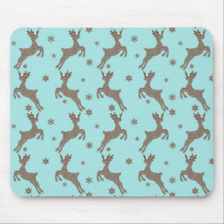 Blue Reindeers Christmas Holiday Mouse Pad