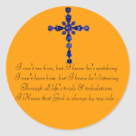 Blue Religious cross sticker