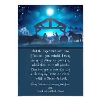 Blue Religious Nativity 5x7 Christmas Card