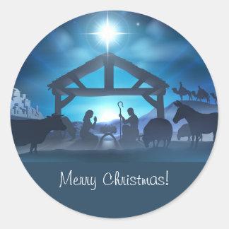 Blue Religious Nativity Christmas Envelope Sticker