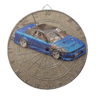 Blue remote toy car dartboard