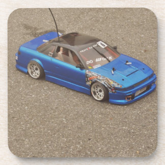 Blue remote toy car drink coasters