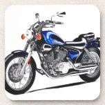 Blue renegade motorcycle drink coaster