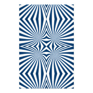 Blue repeating hypnotic pattern stationery