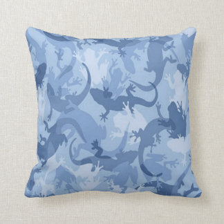 Blue Reptile Camouflage Reversible Pillow