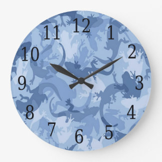 Blue Reptile Camouflage Round Clock