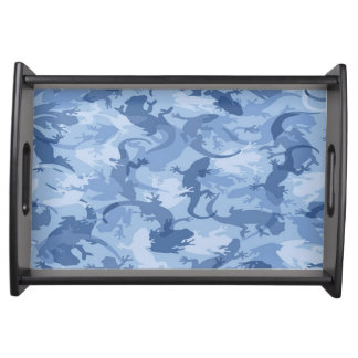 Blue Reptile Camouflage Serving Tray
