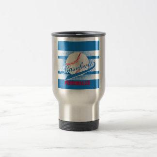 Blue Retro Baseball Style Travel Mug