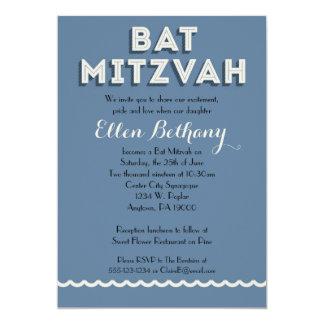Blue Retro Bat Mitzvah Invitations