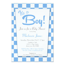 Blue Retro Boy 50s Vintage Baby Shower Invitation