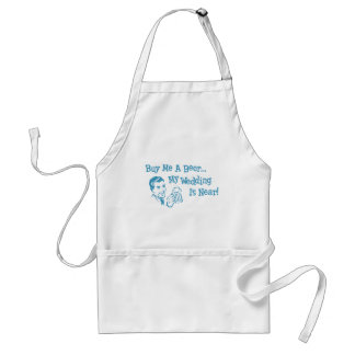 Blue Retro Buy Me A Beer My Wedding is Near Adult Apron