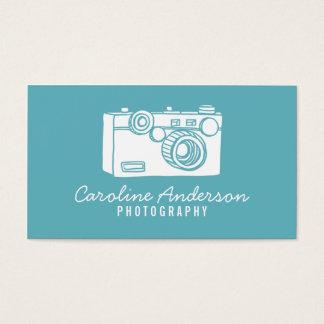 Blue Retro Camera Photographer Business Card