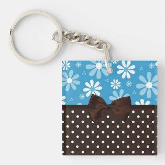 Blue Retro Daisies Brown Polka Dots Keychain