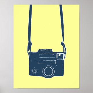 Blue Retro Film Camera Poster