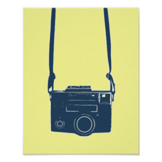 Blue Retro Film Camera Posters