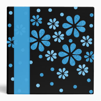 Blue Retro Flowers Dots 2 inch Designer Binder