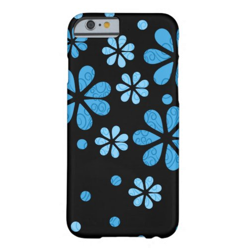Blue Retro Flowers On Black Barely There iPhone 6 Case