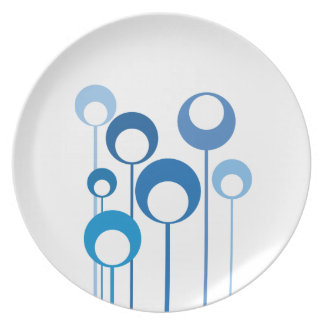 blue retro flowers plate