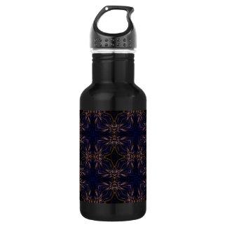 Blue Retro Fractal Pattern 18oz Water Bottle