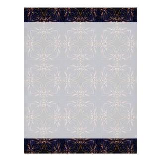 Blue Retro Fractal Pattern Letterhead Design